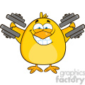 8611 Royalty Free RF Clipart Illustration Smiling Yellow Chick Cartoon Character Training With Dumbbells Vector Illustration Isolated On White