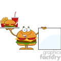 8580 Royalty Free RF Clipart Illustration Hamburger Cartoon Character Holding A Platter With Burger, French Fries And Soda By Blank Sign Vector Illustration Isolated On White