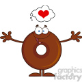 8716 Royalty Free RF Clipart Illustration Chocolate Donut Cartoon Character Thinking Of Love And Wanting A Hug Vector Illustration Isolated On White