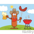 8461 royalty free rf clipart illustration cowboy sausage cartoon character holding a beer and weenie next to bbq vector illustration isolated on white gif, png, jpg, eps, svg, pdf