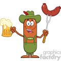 8446 Royalty Free RF Clipart Illustration German Oktoberfest Sausage Cartoon Character Holding A Beer And Weenie On A Fork Vector Illustration Isolated On White