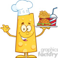 8514 Royalty Free RF Clipart Illustration Chef Cheese Cartoon Character Holding A Platter With Burger, French Fries And A Soda Vector Illustration Isolated On White