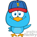 8842 Royalty Free RF Clipart Illustration Smiling Blue Bird Cartoon Character With Baseball Hat Waving Vector Illustration Isolated On White