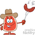 8405 royalty free rf clipart illustration cowboy steak cartoon mascot character holding up a sausage vector illustration isolated on white gif, png, jpg, eps, svg, pdf