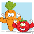 8402 Royalty Free RF Clipart Illustration Carrot And Tomato Cartoon Mascot Characters Showing Muscle Arms Vector Illustration With Background