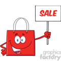 8758 Royalty Free RF Clipart Illustration Red Shopping Bag Cartoon Character Holding Up A Blank Sign With Text Vector Illustration Isolated On White