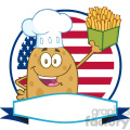8800 Royalty Free RF Clipart Illustration Chef Potato Cartoon Character Over A Circle Blank Banner In Front Of Flag Of USA Vector Illustration Isolated On White