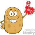 8785 Royalty Free RF Clipart Illustration Happy Potato Cartoon Character Wearing A Foam Finger Vector Illustration Isolated On White