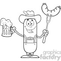 8445 Royalty Free RF Clipart Illustration Black And White German Oktoberfest Sausage Cartoon Character Holding A Beer And Weenie On A Fork Vector Illustration Isolated On White