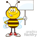 8376 Royalty Free RF Clipart Illustration Bee Cartoon Mascot Character Holding Up A White Blank Sign Vector Illustration Isolated On White