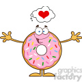 8676 Royalty Free RF Clipart Illustration Funny Donut Cartoon Character With Sprinkles Thinking Of Love And Wanting A Hug Vector Illustration Isolated On White