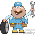 8553 royalty free rf clipart illustration smiling mechanic cartoon character with tire and huge wrench vector illustration isolated on white gif, png, jpg, eps, svg, pdf