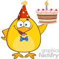 8617 royalty free rf clipart illustration happy yellow chick cartoon character holding up a birthday cake vector illustration isolated on white