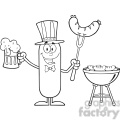 8456 royalty free rf clipart illustration black and white patriotic sausage cartoon character holding a beer and weenie next to bbq vector illustration isolated on white gif, png, jpg, eps, svg, pdf