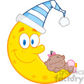 7000 Royalty Free RF Clipart Illustration Cute Baby Girl Sleeps On The Smiling Moon With Sleeping Hat