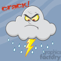 7030 Royalty Free RF Clipart Illustration Angry Cloud With Lightning And Rain
