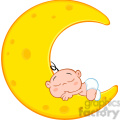 royalty free rf clipart illustration cute baby boy sleeps on moon cartoon character  gif, png, jpg, eps, svg, pdf