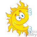 royalty free rf clipart illustration smiling sun looking around a sign cartoon mascot character  gif, png, jpg, eps, svg, pdf