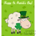 Royalty Free RF Clipart Illustration Irish Sheep Carrying A Clover In Its Mouth Under Text