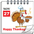 royalty free rf clipart illustration cartoon calendar page turkey chef with pie and happy thanksgiving greeting gif, png, jpg