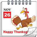 8967 Royalty Free RF Clipart Illustration Cartoon Calendar Page With Cartoon Turkey Escape Vector Illustration vector clip art image