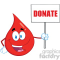royalty free rf clipart illustration red blood drop cartoon mascot character holding up a blank sign with text donate gif, png, jpg, eps, svg, pdf