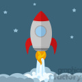 8303 Royalty Free RF Clipart Illustration Rocket Ship Start Up Concept Flat Style Vector Illustration