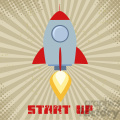 8328 Royalty Free RF Clipart Illustration Vintage Rocket Start Up Concept Flat Style Vector Illustration With Text