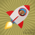 8334 Royalty Free RF Clipart Illustration African American Manager Launching A Rocket And Giving Thumb Up Flat Style Vector Illustration