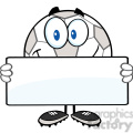 royalty free rf clipart illustration happy soccer ball cartoon character holding a banner  gif, png, jpg, eps, svg, pdf