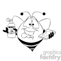 bob the bee eating honey black white