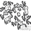 outline of toy animals illustration graphic