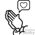 social media praying hands for likes vector icon