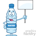 royalty free rf clipart illustration water plastic bottle cartoon mascot character holding up a blank sign vector illustration isolated on white