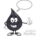 royalty free rf clipart illustration petroleum or oil drop cartoon character giving a thumb up vector illustration isolated on white with speech bubble