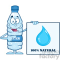 9376 royalty free rf clipart illustration water plastic bottle cartoon mascot character holding and pointing to a banner with text vector illustration isolated on white
