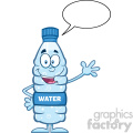 royalty free rf clipart illustration happy water plastic bottle cartoon mascot character waving with speech bubble vector illustration isolated on white
