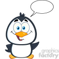 royalty free rf clipart illustration smiling cute penguin cartoon character waving with speech bubble vector illustration isolated on white gif, png, jpg, eps, svg, pdf
