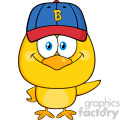 royalty free rf clipart illustration yellow chick cartoon character wearing a baseball cap and waving vector illustration isolated on white