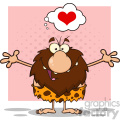 smiling male caveman cartoon mascot character with open arms and a heart vector illustration  gif, png, jpg, eps, svg, pdf
