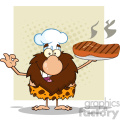 9913 chef male caveman cartoon mascot character holding up a platter with big grilled steak and gesturing ok vector illustration
