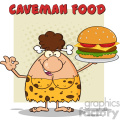brunette cave woman cartoon mascot character holding a big burger and gesturing ok vector illustration with text caveman food gif, png, jpg, eps, svg, pdf