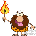 smiling male caveman cartoon mascot character holding up a fiery torch vector illustration