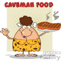 brunette cave woman cartoon mascot character holding a big steak and gesturing ok vector illustration with text caveman food gif, png, jpg, eps, svg, pdf