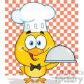 royalty free rf clipart illustration happy chef yellow chick cartoon character holding a cloche platter holding a platter over checkers vector illustration isolated on white gif, png, jpg, eps, svg, pdf