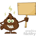 royalty free rf clipart illustration funny poop cartoon mascot character holding a blank wood sign vector illustration isolated on white
