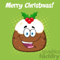 royalty free rf clipart illustration happy christmas pudding cartoon character vector illustration greeting card