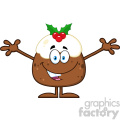 royalty free rf clipart illustration smiling christmas pudding cartoon character with open arms for greeting vector illustration isolated on white