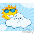 royalty free rf clipart illustration smiling summer sun with sunglasses and grumpy cloud mascot cartoon characters vector illustration with sunburst background