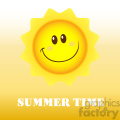 royalty free rf clipart illustration happy sun cartoon mascot character vector illustration with background and text summer time